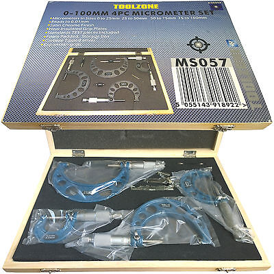 Set of 4 Micrometers. External Outer Metric measuring 0-100mm with Ratchet Stop