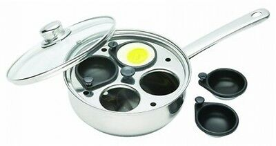 Kitchen Craft Egg Poacher Stainless Steel Non Stick 4 Hole Poach Set Cup Lid Pan