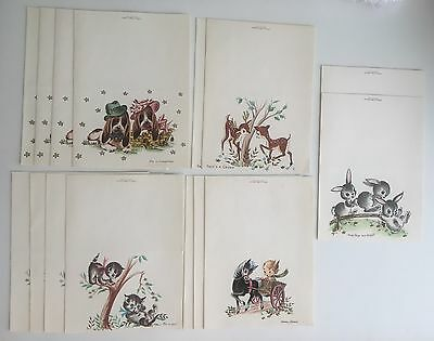 Vtg Lot Mid Century Greeting Cards by A Quaint Shop - cats, rabbits, dogs, etc