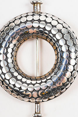 """SALE! MINT! John Hardy """"Dot"""" Sterling Silver Round Textured Scarf Brooch Pin"""