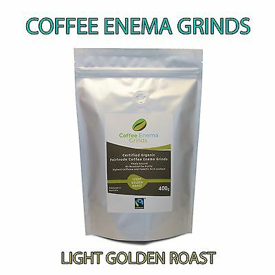 ORGANIC FAIRTRADE COFFEE ENEMA GRINDS 400g LIGHT ROAST - GERSON - AIR ROASTED