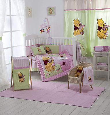 4 Piece Pink Winnie The Pooh Baby Crib Bedding Cot Set Rrp $250.00