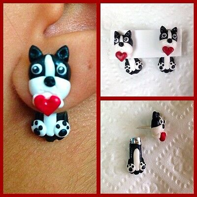 Boston terrier Earrings Without Tail