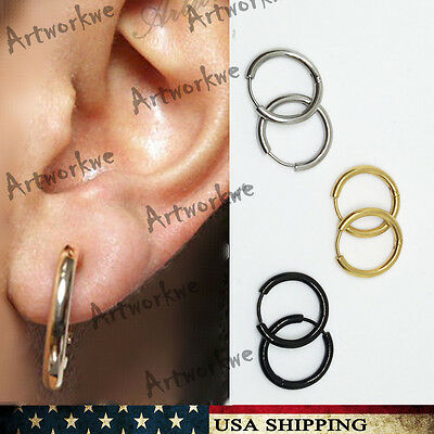 3 Colors Pairs Mens Womens Stainless Steel Tube Hoop Ear Ring Stud Earrings