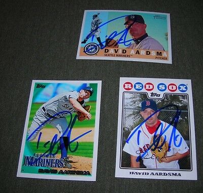 Three card signed autograph lot of David Aardsma 2009 heritage and 2 topps