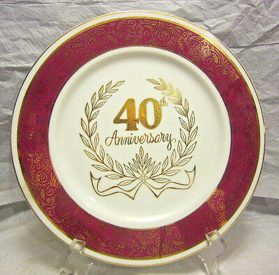 "40th Wedding Anniversary 10 1/2"" Plate Handcrafted Japan An-840"