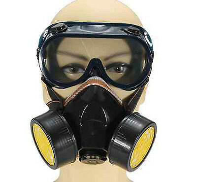 Emergency Survival Safety Respiratory Gas Mask & 2 Dual Protection Filter&Glass#
