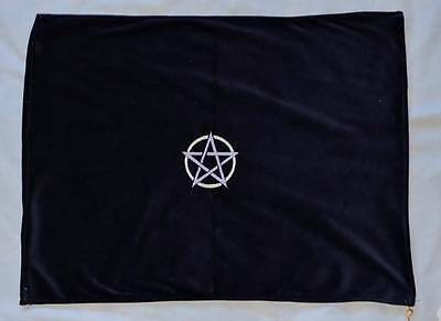 """Handcrafted Navy Blue Embroidered Altar Cloth 19"""" x 23"""" Pentacle wicca Handmade"""