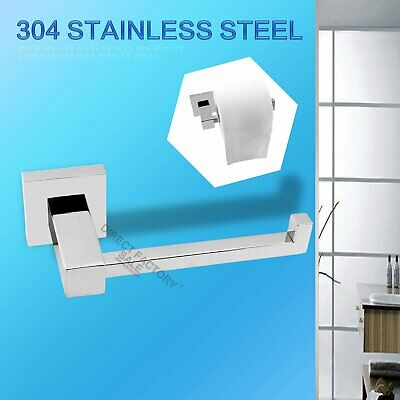 SS304 Square Toilet Tissue Paper Roll Holder Hook Wall Mounted Bathroom Washroom