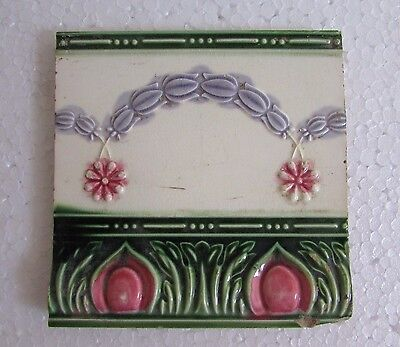 Vintage Old Unique Rare Colorful Flower Painted Ceramic Wall Tile Collectible