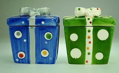 Pair of Colourful Christmas Ceramic Gift Boxes with Lids AE2