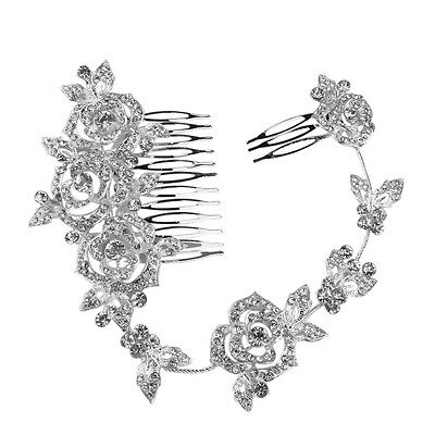 Bridal Wedding Party Crystal Rose Pearls Hair Comb Clip Slide Tiara Rhinestone