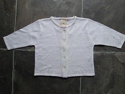 BNWNT Baby Girl's White Knitted Acrylic Cardigan Size 0