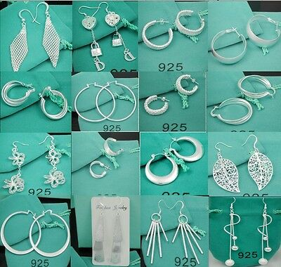 Christmas gift wholesale fashion Jewelry Solid 925Silver Ladies Earrings +Box