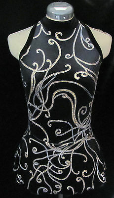 BLACK SILVER GOLD Ice Figure Competition Skating Dress GIRLS SMALL 7 / 8
