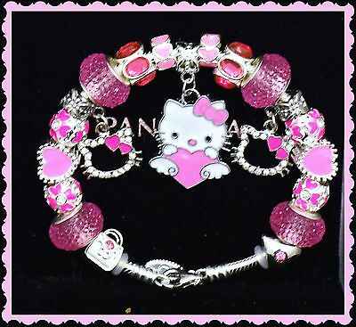 Authentic Pandora Silver Charm Bracelet and European Charms Hello Kitty Pink New