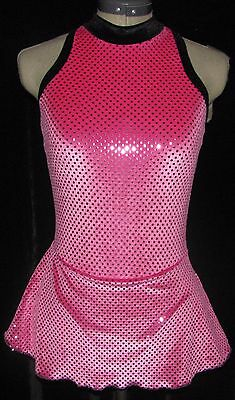 HOT PINK WITH BLACK Ice Figure Skating Dress GIRLS MEDIUM 8 / 9 /10