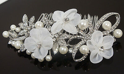 Vintage hair comb bridal wedding crystal rhinestone with lace flowers ha303333