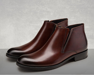 fb43f9dfed Men s Cow Leather Shoes Business Ankle Boots Cowboy Casual Black Brown Size  5~11