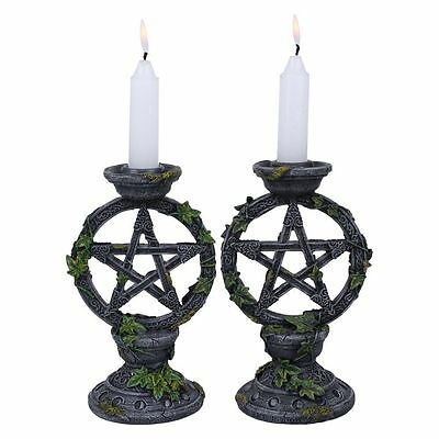 Wiccan Pentagram Candlesticks (Set of 2) By Nemesis Now