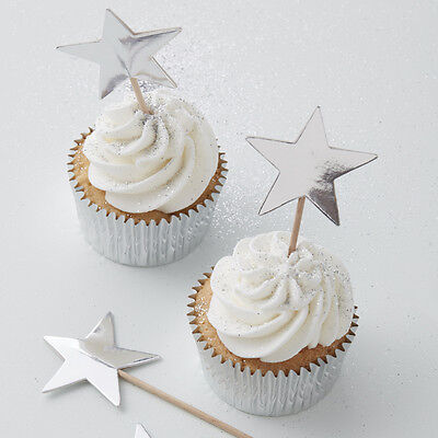 SILVER CHRISTMAS STAR Cupcake Cake TOPPER DECORATION Sticks Flags Canape Food
