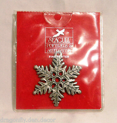 Seagull Fine Pewter Snowflake Christmas Tree Decoration Made in Canada