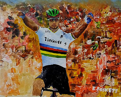 Peter Sagan Cycling oil painting on 407g cotton canvas unframed 10X8 Inch
