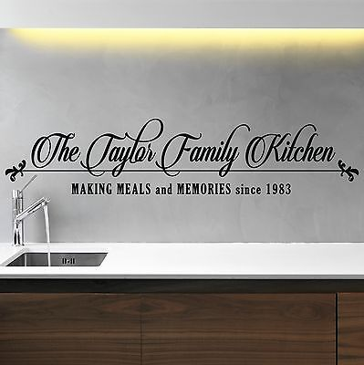 Kitchen personalised wall sticker Family Name custom vinyl decal DF69