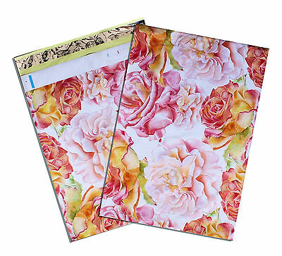"""10"""" x 13"""" Painted Roses FLAT POLY MAILERS Approved Shipping Mailers"""