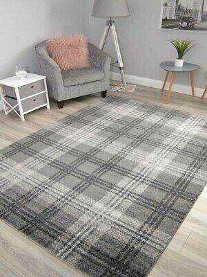 Soft Quality Tartan Silver Charcoal Mats Rugs Long Hall Runners Good And Cheap