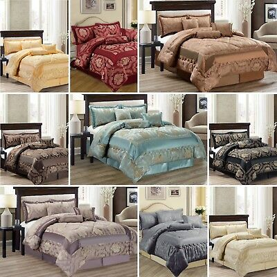 Jacquard 7Pc Comforter Set Quilted Bedspread Bedding set Double & King Size