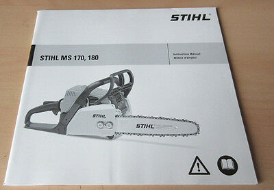 Stihl MS170 / MS180 Chainsaw Owners Manual 0458 207 8221 - FREE SHIPPING!