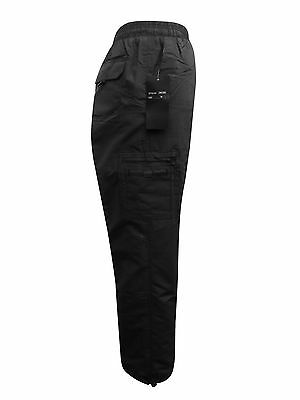 Mens Black Fleece Lined Elasticated Thermal Cargo Work Casual Winter Trousers