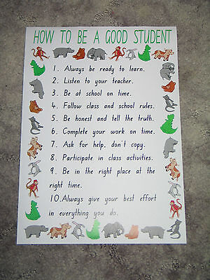 Teacher Resource Classroom A3 Poster HOW TO BE A GOOD STUDENT Primary Infants BN