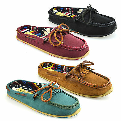 Ladies Womens Faux Suede Warm Soft Comfort Moccasin Mules Slippers Shoes Size