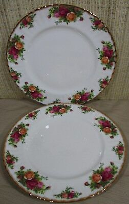 """2X Royal Albert China Old Country Roses Set 2 Dinner Plates 10½"""" New With Tag D6"""