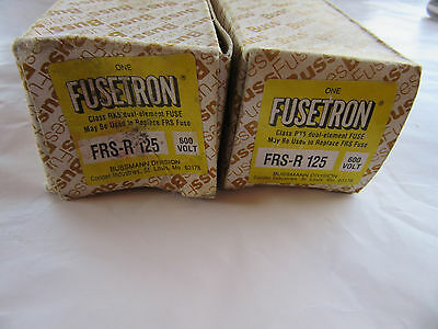 (2) Bussmann FRS-R-125 Fusetron Fuses 125 Amp 600V NEW!!! in Box Free Shipping