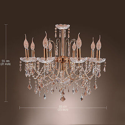 Vintage Elegant Fixture Ceiling 9 Light Lighting Crystal Pendant Chandelier Lamp