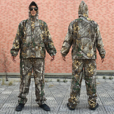 Bionic Camouflage Hunting Clothes Green Leaf Breathable Jacket Pants Hat suit