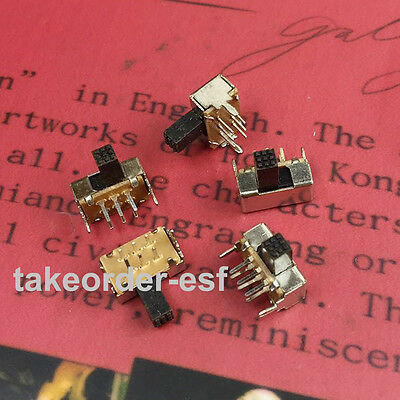 SK22D02 DPDT Miniature Slide Switch 6 Pin PCB Right Angle 10 Pcs