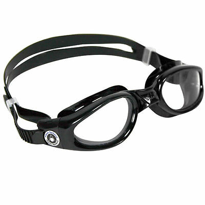 Aqua Sphere Kaiman Swim Goggles - Small Fit - Clear Lens - Easy Adjust - Black