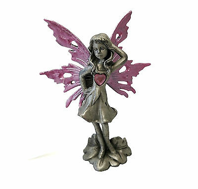 "3.25"" Heart Fairy Statue Figurine Figure Magic Decor MADE OUT OF PEWTER"