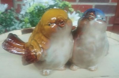 Pair Of Small Porcelain Glossy  Blue, Tan, & Yellow Bird Figurines - Cute