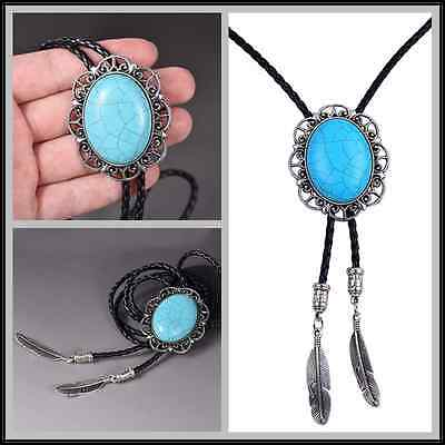Gentleman Turquoise Needlepoint Bolo Tie Native American Silver Plated Necktie