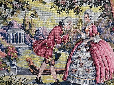 VINTAGE NEEDLEPOINT FRENCH SCENE needlework handmade & framed