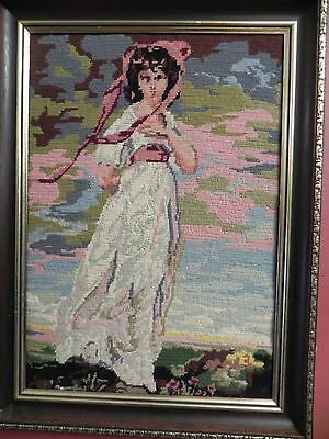 VINTAGE NEEDLEPOINT COLORFUL  needlework handmade & framed
