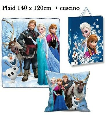 pacco Regalo Frozen Team Coperta Plaid in Pile 140x120cm + Cusino 35x35cm Disney