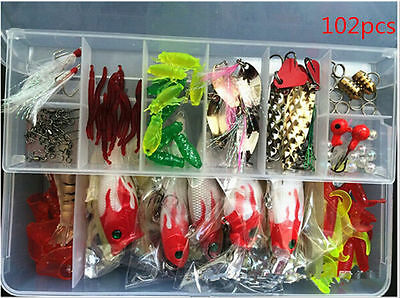 102pc Fishing Lures Spinners Plugs Spoons Soft Bait Pike Trout Salmon+Box Set UK