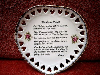 Heart Shape  Pierced  Hearts Gold Trim  Wall  Plate  With  The  Lords  Prayer
