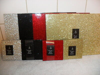 Gold/Black/Silver/Red Place Mats Glitter Sprinkle Christmas Placemats Set of 4